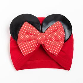 Шапочка для девочки, цвет бордовый, размер 40-44