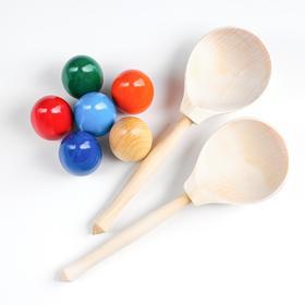 Набор деревянных ложек с цветными яйцами