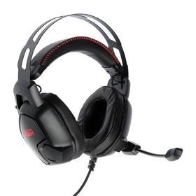 Наушники Smartbuy AMBITION, игровые, полноразмерные, микрофон, подсветка,2.1 м,чёрно-красные