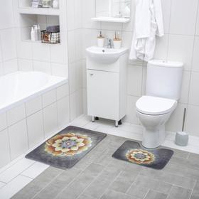 Набор ковриков для ванны и туалета Доляна «Аура», 2 шт: 50×80, 50×40 см