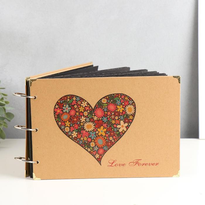 """Фотоальбом 30 листов """"Цветочное сердце"""" 18,5х26,5х1,5 см - фото 854908"""