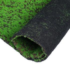 Мох искусственный, декоративный, полотно 1 × 1 м, зелёный на чёрном