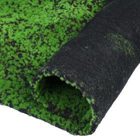 Мох искусственный, декоративный, полотно 1 × 1 м, рельефный, зелёный на чёрном