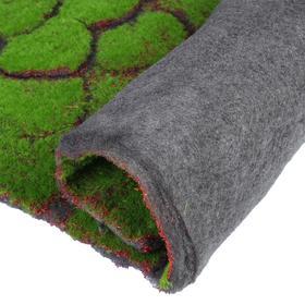 Мох искусственный, декоративный, полотно 1 × 1 м, рельефный, камни, зелёный на чёрном