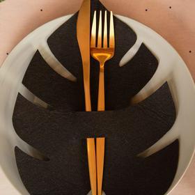 """Конверт для столовых приборов """"Тропики"""" чёрный, 18,5 х 24 см, 100% п/э, фетр"""