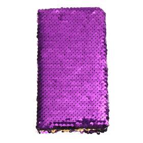 Записная книжка подарочная, формат А6, 80 листов в линейку, пайетки двухцветные фиолетово-золотистые