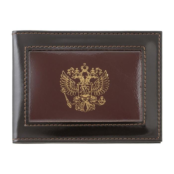 Обложка для удостоверения, с окошком, коричневый глянцевый