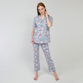 Костюм женский (лонгслив, брюки), цвет серый/фламинго, размер 48
