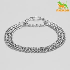 Ошейник-полуудавка металлический трехрядный, 60 см, толщина проволоки 2,5 мм