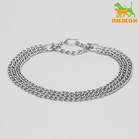 Ошейник-полуудавка металлический трехрядный, 70 см, толщина проволоки 2,5 мм