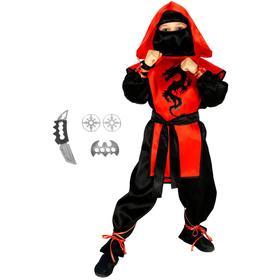 Карнавальный костюм «Ниндзя: чёрный дракон» с оружием, р. 36, рост 140 см, цвет красный