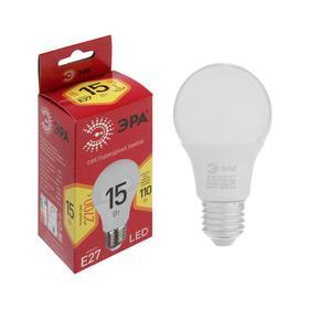 Лампа светодиодная ЭРА, A60, E27, 15 Вт, 2700 К, теплый белый