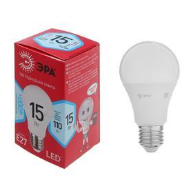 Лампа светодиодная ЭРА, A60, E27, 15 Вт, 4000 К, нейтральный белый