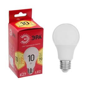 Лампа светодиодная ЭРА, A60, E27, 10 Вт, 2700 К, теплый белый