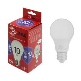 Лампа светодиодная ЭРА, A60, E27, 10 Вт, 6500 К, холодный белый