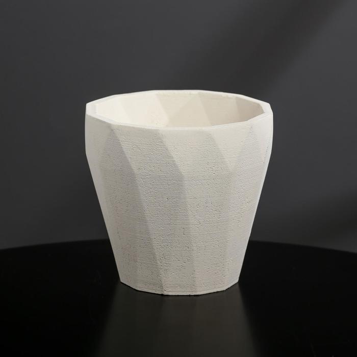 Кашпо из гипса «Полигональ», цвет белый, 10.5 × 11 см