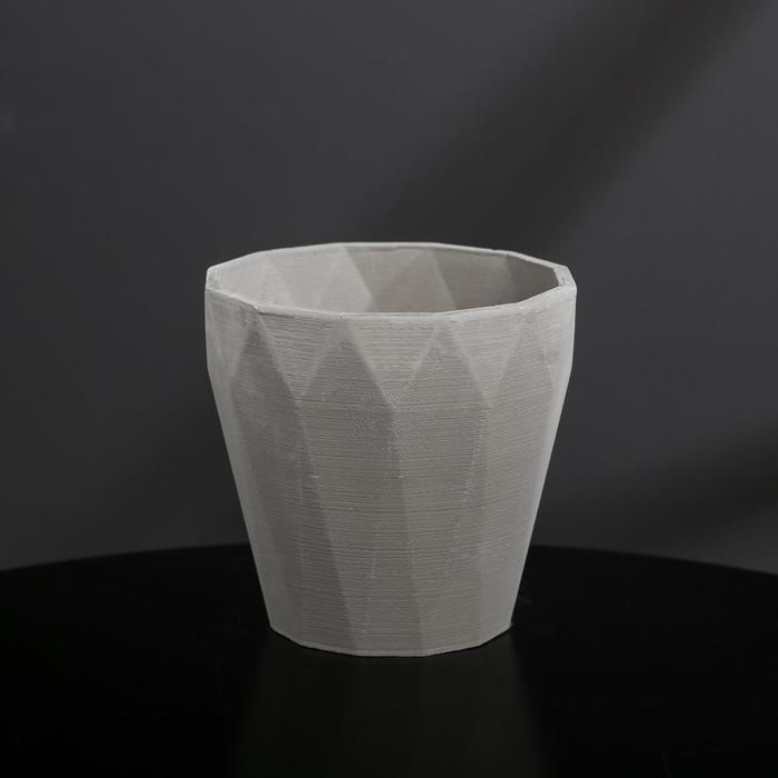 Кашпо из гипса «Полигональ», цвет серый, 10.5 × 11 см