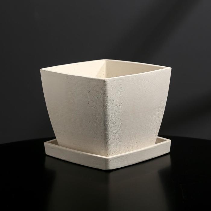 Кашпо-квадрат из гипса с поддоном «Классика», цвет белый, 11 × 11 см