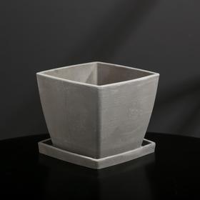 {{photo.Alt || photo.Description || 'Кашпо-квадрат из гипса с поддоном «Классика», цвет серый, 11 × 11 см'}}