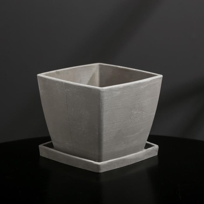Кашпо-квадрат из гипса с поддоном «Классика», цвет серый, 11 × 11 см