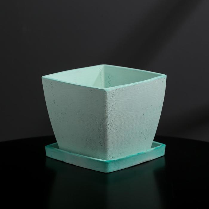 Кашпо-квадрат из гипса с поддоном «Классика», мятное, 11 х 11 см