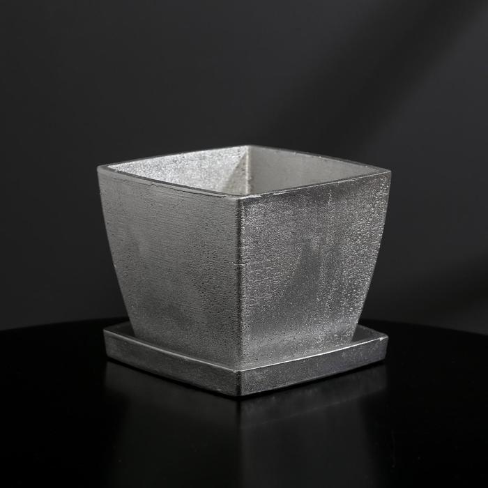 Кашпо-квадрат из гипса с поддоном «Классика», цвет серебрянный, 11 × 11 см