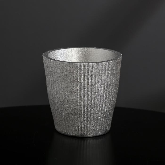 Кашпо из гипса «Красота», цвет серебрянный, 9 × 8 см
