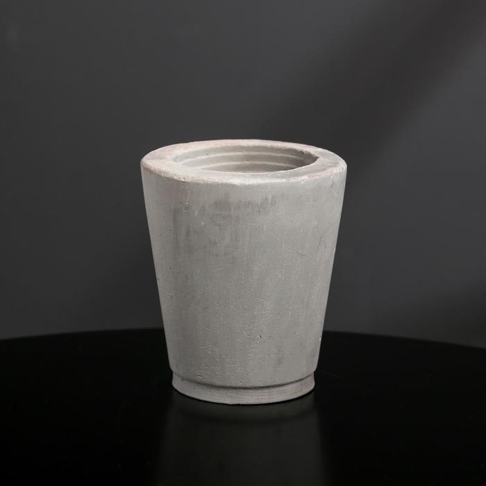 Кашпо-стаканчик из бетона «Стиль», цвет серый, 8 × 9.5 см