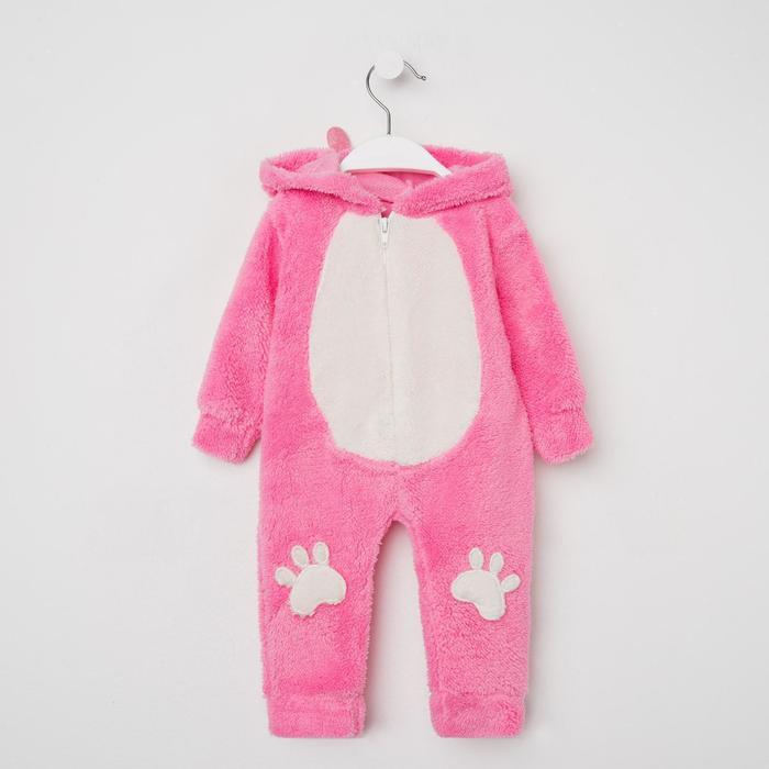 Комбинезон детский, цвет розовый/белый, рост 74 см (9 мес.) - фото 1957565