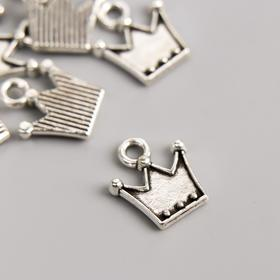 """Подвеска """"Корона"""", цвет серебро 0,9х11 мм"""