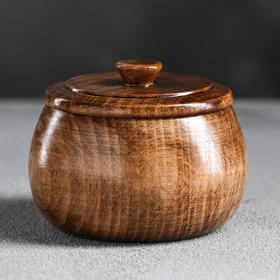 Солонка деревянная, темная, 8х6 см, массив бука