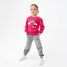 Комплект для девочки, цвет фуксия/серый, рост 92 см