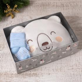 """Набор подарочный """"Крошка Я"""" Мишка плед 85х85 см, носки 9-12мес"""