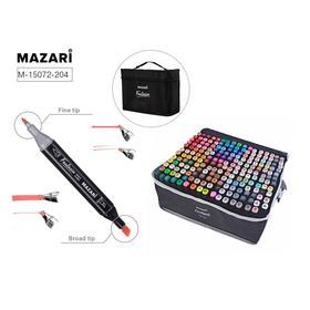 Маркеры для скетчинга двусторонние Mazari Fantasia, 204 цвета (2 маркера-блендера)