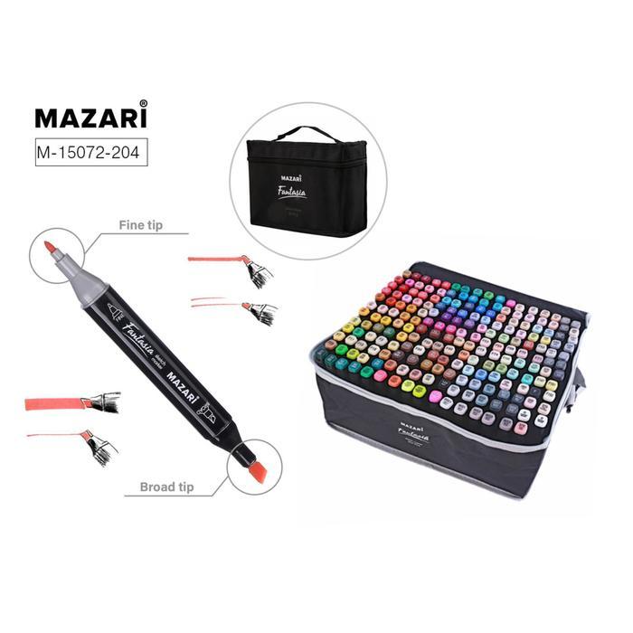Набор двухсторонних маркеров для скетчинга Mazari Fantasia, 204 цвета (2 маркера-блендера)