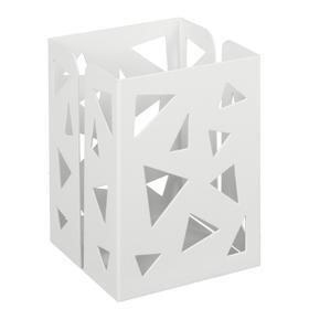 Стакан для пишущих принадлежностей квадратный узор металл белый