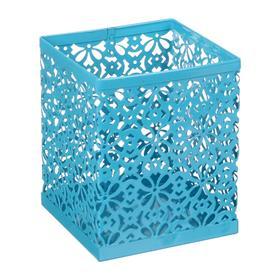 Стакан для пишущих принадлежностей квадратный узор металл голубой