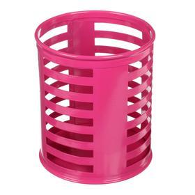 Стакан для пишущих принадлежностей круглый металл розовый