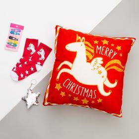 """Набор подарочный """"Unicorn"""" подушка-секрет 40х40 см аксессуары (3 шт)"""