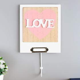 """Крючок декоративный дерево """"Сердце с надписью love"""" 23,5х13,2х4,5 см"""