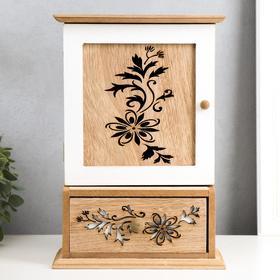 """Ключница дерево с ящичком """"Цветы резные"""" 29,5х20х9,5 см"""