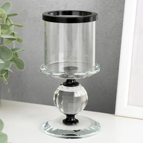 """Подсвечник стекло на 1 свечу """"Кристалл шар"""" чёрные вставки 14х7х7 см"""
