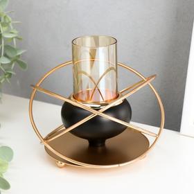 """Подсвечник металл на 1 свечу """"Сфера"""" чёрный с золотом 9,5х13,5х13,5 см"""