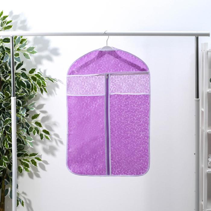Чехол для одежды Доляна «Фло», 45×70 см, цвет фиолетовый - фото 4640317