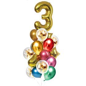 Букет из шаров «День рождения – 3 года», фольга, латекс, набор 21 шт., цвет золотой