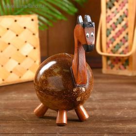 """Сувенирная копилка из кокоса """"Жирафик"""" 13х13х25 см"""