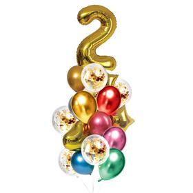 Букет из шаров «День рождения – 2 года», фольга, латекс, набор 21 шт., цвет золотой