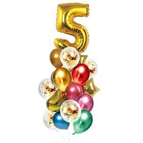Букет из шаров «День рождения – 5 лет», фольга, латекс, набор 21 шт., цвет золотой
