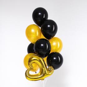 Букет из шаров «Стильное сердце», фольга, латекс, набор 10 шт., золото, чёрный