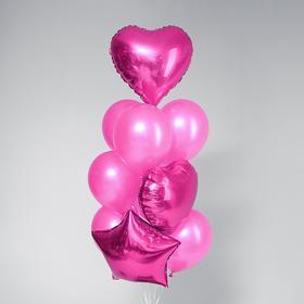 Букет из шаров «Нежный», фольга, латекс, набор 10 шт., цвет розовый